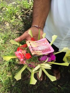 Balinese offering and payment for healers.