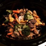 Slow stewed beef with roasted veggies.