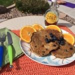 GF Flax, Coconut Blueberry pancakes with protein boost!