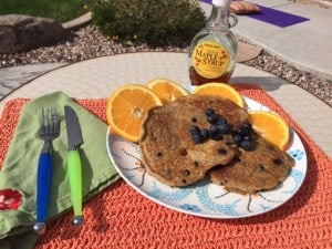 Gluten Free Banana Coconut Blueberry Pancakes with Flax and Protein Boost